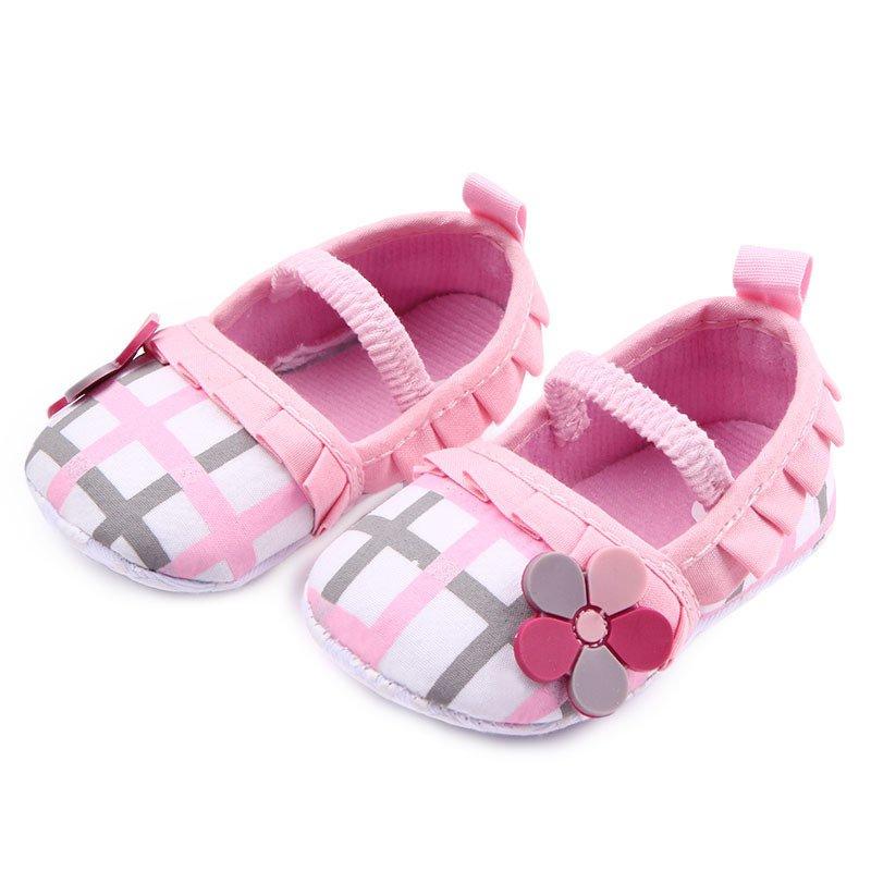 Baby Shoes Girls First Walker Plaid Toddler Infants Kids Princess Prewalker Anti-Slip Shoe QF