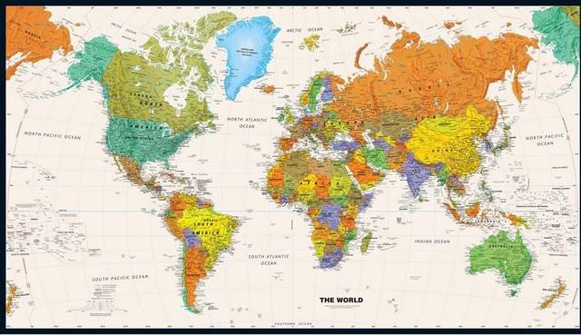 Vintage World Map Canvas ölgemälde Retro wandkunst aufkleber bilder ...