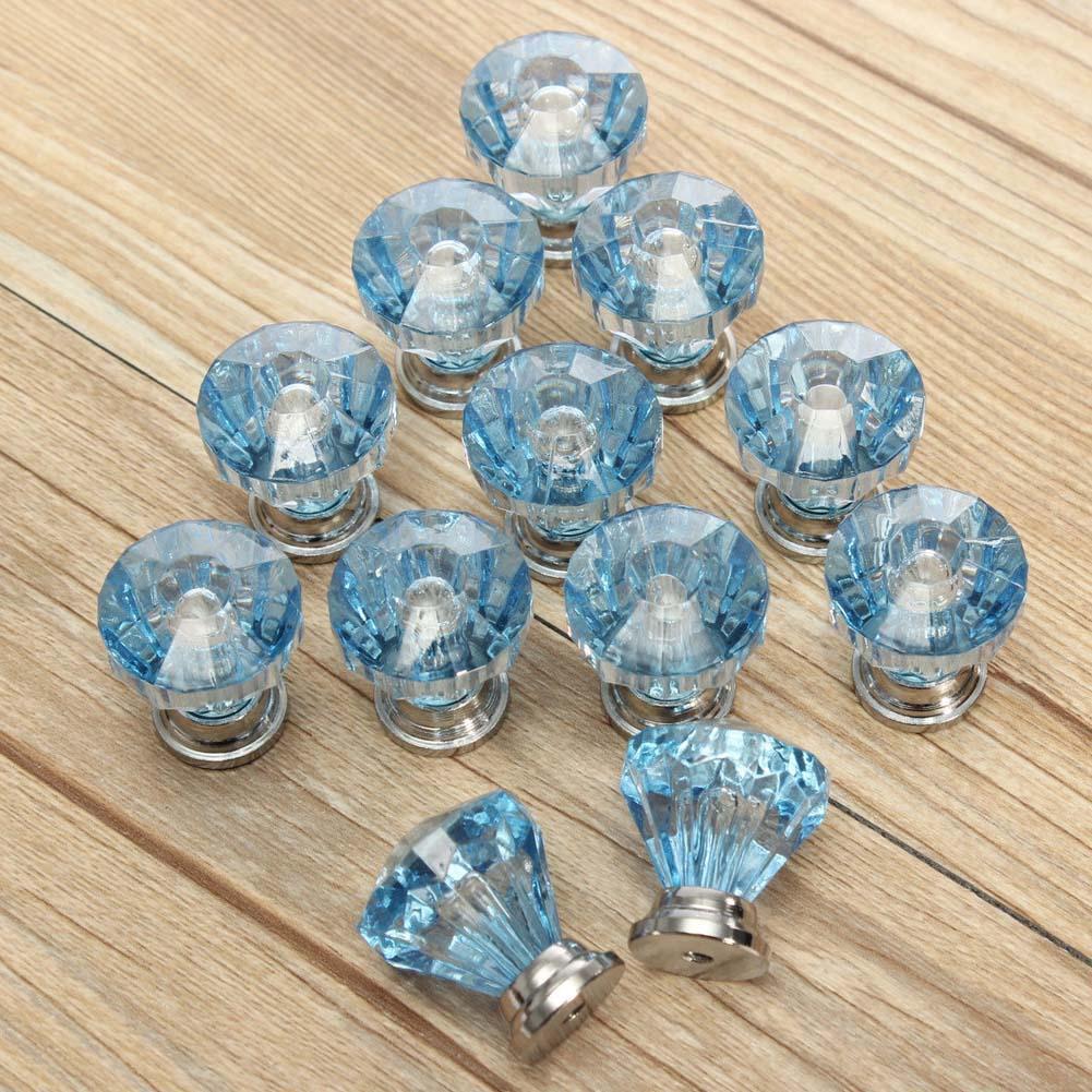 12x Blue Diamond Crystal Glass Door Drawer Cabinet Furniture Handle