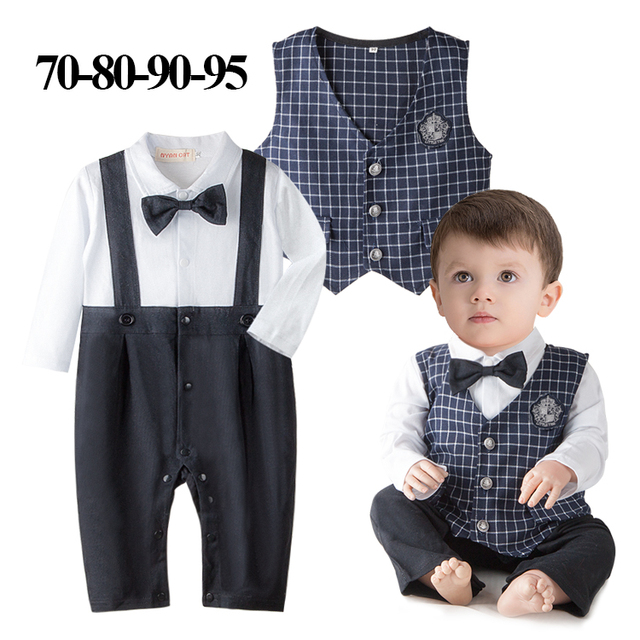 899f1567c86af DHL EMS Free shipping baby boys 2 piece Suit rompers Waistcoat Little  Gentlenman Party Wear Baby Clothing 8 pcs/lot 70-80-90-95