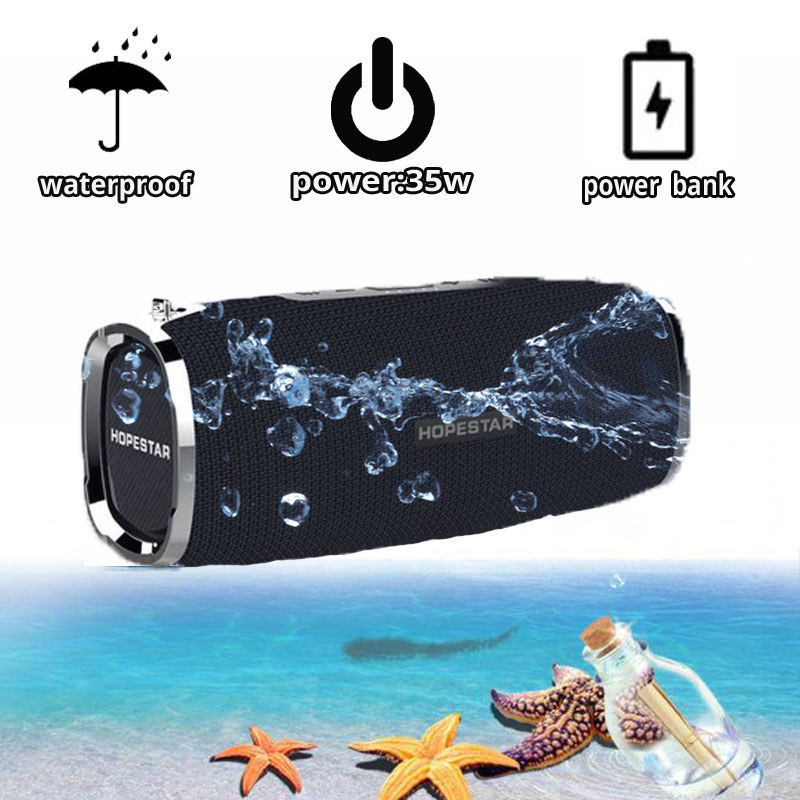 35W Waterproof A6 Bluetooth Speaker Music Column Stereo Bass Subwoofer Outdoor Portable Wireless Loudspeaker+Power Bank