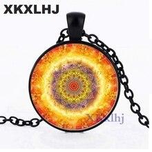 XKXLHJ Mandala Flower Necklace Charm Henna Yoga Glass Pendant Om Symbol Zen Buddhism Necklaces India Style Jewelry For Women