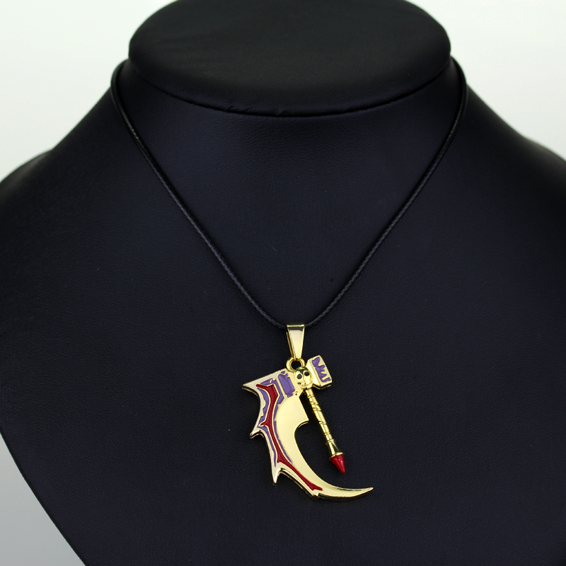 Online Game Jewelry Dota3 T15 Necklace Bone Hammer Pendants&Necklaces Collier with Leather Rope Cord Chain