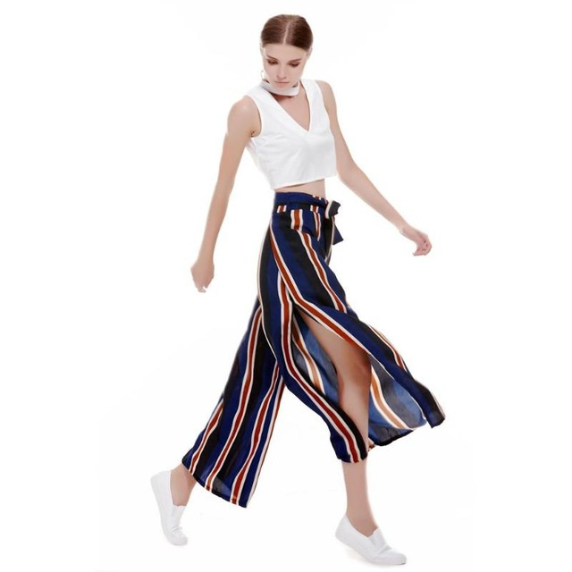 Summer Women Casual Colorful Vertical Stripes Pants Fashion Elastic Split Side Vent High Waist Trousers Loose Wide-leg Pants