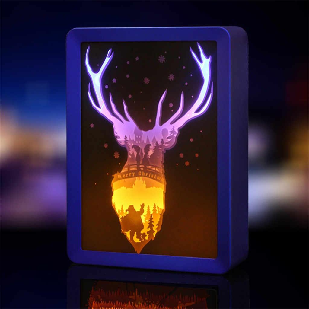 크리스마스 장식 새 해 빛나는 크리스마스 led 3d 입체 빛 엘크 종이 조각 램프 저녁 식사 테이블 장식 홈 나탈