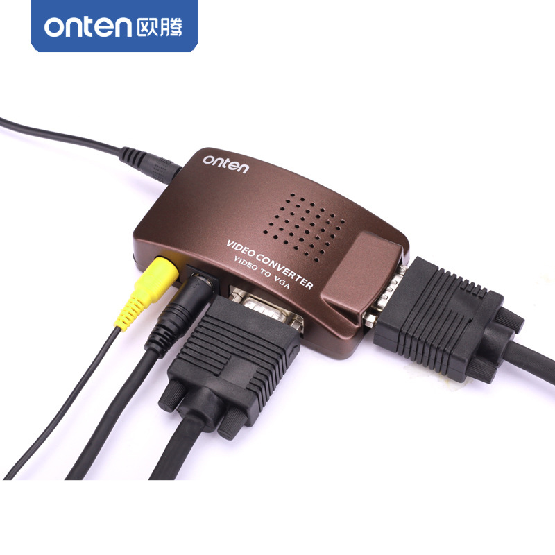 ONTEN RCA AV Composite Video S-Video set-top-box PC To VGA input TV / LCD Display Monitor / Video Converter Adapter Switch Box цена и фото