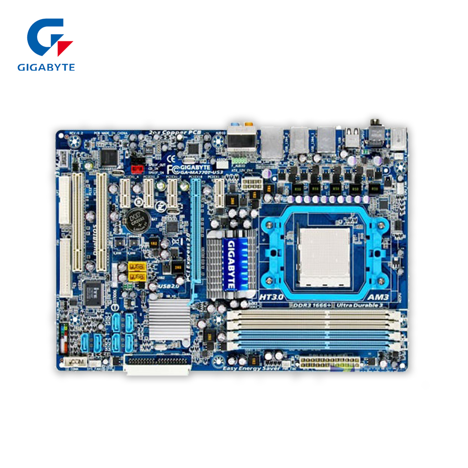 купить Gigabyte GA-MA770T-US3 Original Used Desktop Motherboard 770 Socket AM3 DDR3 SATA2 USB2.0 ATX недорого