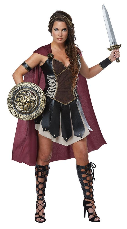 Ladies Xena Gladiator Warrior Princess Roman Spartan Fancy Dress Costume /& Cape