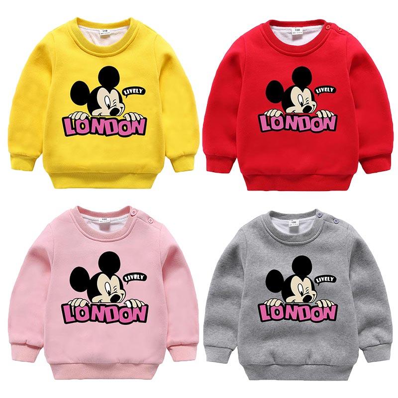 2018 Einzelhandel Baby Kleidung Herbst Winter Neue Cartoon Mickey Maus Hoodie Kinder Verdicken Pullover Kinder Druck Lässig Warme Kleidung