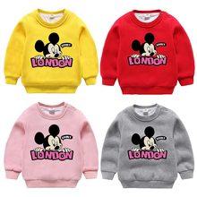 Купить с кэшбэком 2018Retail Baby Clothes Autumn Winter New Cartoon Mickey Mouse Hoodie Kids Thicken Sweater Children Printing Casual Warm Clothes