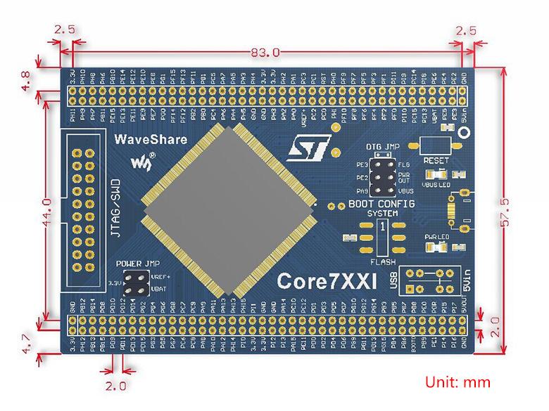STM32 MCU core board dimensions
