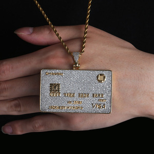 Image 5 - Full Iced Out Credit Card Pendant Necklace Mens Gold Silver Color Hip Hop Jewelry With Tennis Chain Charm CZ Jewelry Gifts
