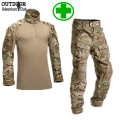 Camouflage Tactical Military Uniform Shirt Set Men Militar Multicam Camo Hunt Clothes Army Combat Shirt + Cargo Pants Knee Pads