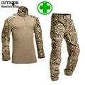 Camuflagem Tático Uniforme Militar Conjunto Camisa Dos Homens Camisa de Combate Do Exército Militar Multicam Camo Roupas de Caça + Carga Calças Na Altura Do Joelho Pads