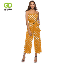 GOPLUS Spaghetti Strap Polka Dot Vintage Jumpsuit Women High Waist Sleeveless Jumpsuits Wide Leg Summer Jumpsuit Plus Size 2019 wide leg polka dot cami jumpsuit
