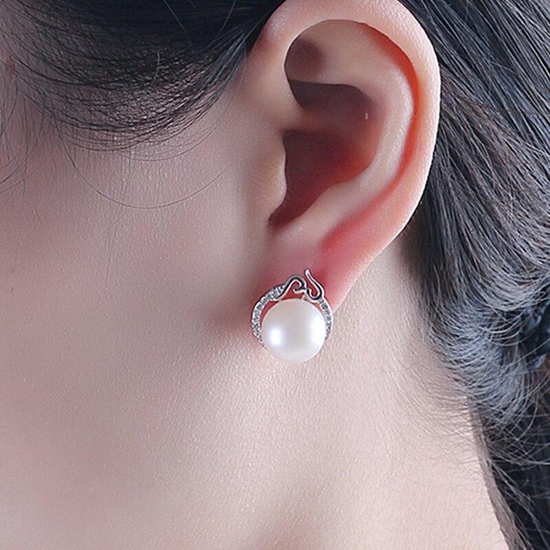 YIKALAISI 2017 100% naturel d'eau douce 10-11mm ronde perle bijoux 925 en argent Sterling boucles d'oreilles pour les femmes filles meilleur cadeau - 2