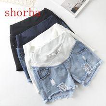 Модные летние шорты для беременных; однотонная Одежда для беременных; джинсовые шорты с эластичной резинкой на талии; короткие шорты для беременных; большие размеры