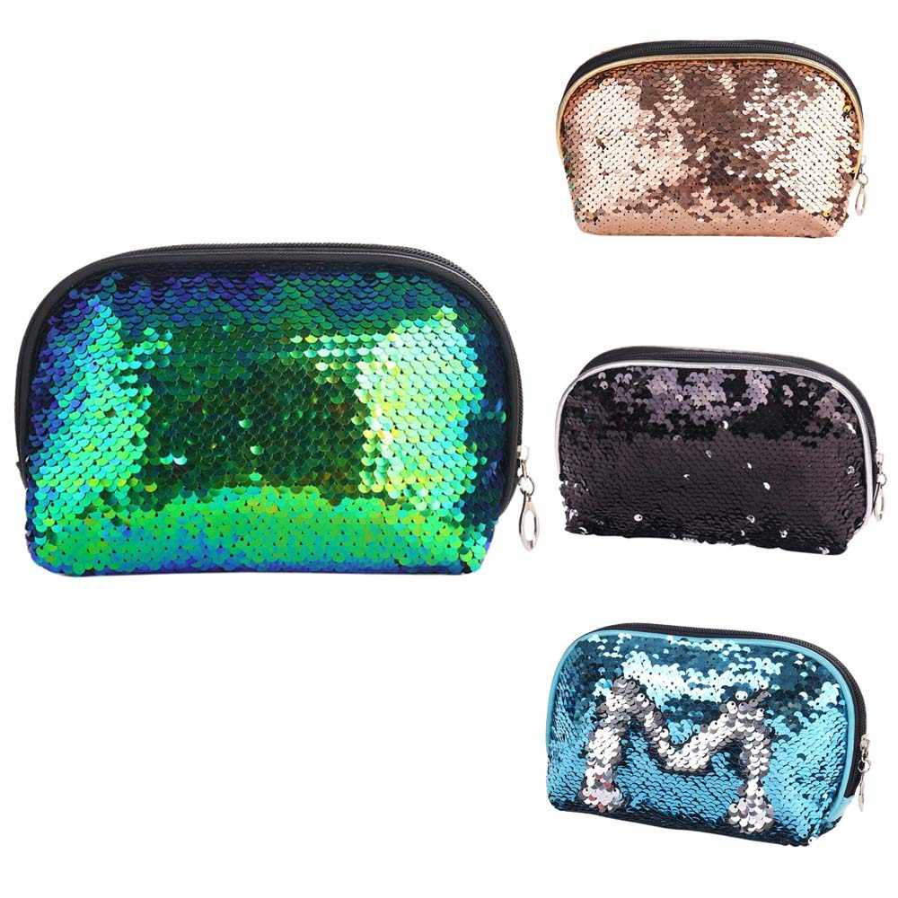 7044674a63 Mermaid Sequin Cosmetic Bag For Women Glitter Handbag Fashion Cute Evening Clutch  Bag Lady Double Color