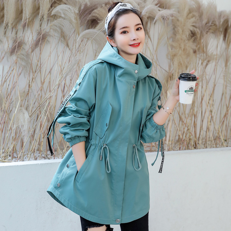 Casual Windbreaker Female Korean 2020 New Loose Hooded Waist Spring Autumn Trench Coat For Women Outerwear Girls  X645
