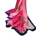 Venta caliente de la Tela De Seda Imitado Bufanda de Marca de Lujo Botella de Perfume Prited Patty de Seda Foulard Femme Hijab Chales y Bufandas Wraps