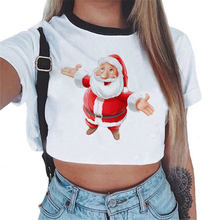 Christmas Blouse Shirts 2018 Women Short Sleeve Sexy White Kawaii Crop Top Tumblr Femme Clothes Fashion Clothing Tees(China)