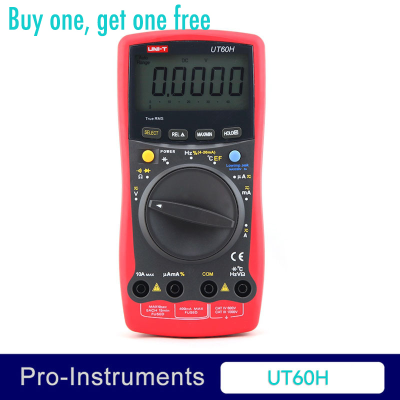 UNI-T UT-60H LCD Auto Ranging Modern Digital Multimeter AC DC Volt Amp Ohm Capacitance Temp Tester 5 in 1 digital multimeter sound level humidity luminosity temperature lcd ac dc multimeter volt amp ohm tester em5510 all sun