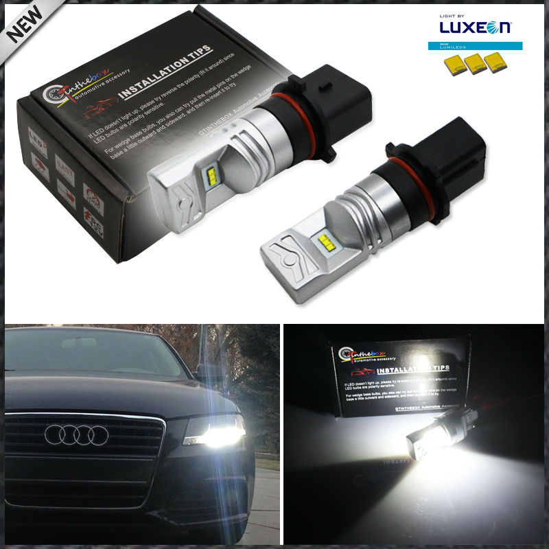 iJDM Error Free 6000K White Powered By Luxen LED P13W SH24W Bulbs For 2008-2012 Audi A4 Q5 S4 B8 Daytime Running Lights,12V LED high powered 6000k 18lm led vehicle signal lights 2 pack 12v t8 white