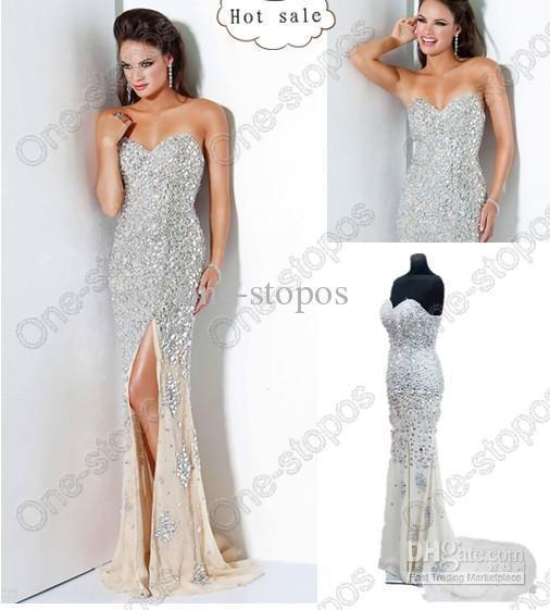 Wholesale - Sexy Sweetheart Mermaid Light Champagne Beaded Sequins Chiffon Split Prom Dresses Jov4247