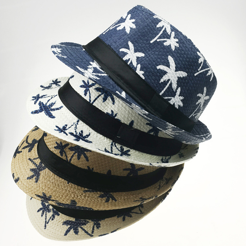 512e00fcddb Summer Paper Straw Jazz Fedora Hats for Men Women Children Fashion Maple Leaf  Printing Outdoor Parent-child Cap Sunhat Party Hat