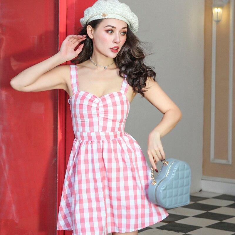 2018 automne Vintage doux Corset Type robe de bal robe Slim taille haute rose Plaid robe large sangle respirante fermeture à glissière patte