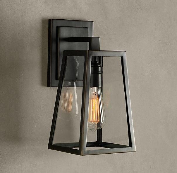 Современный Ресторан Vintage черный Утюг бра лампы DIY открытый Edsion украшения E27 стеклянный абажур лампы настенный светильник