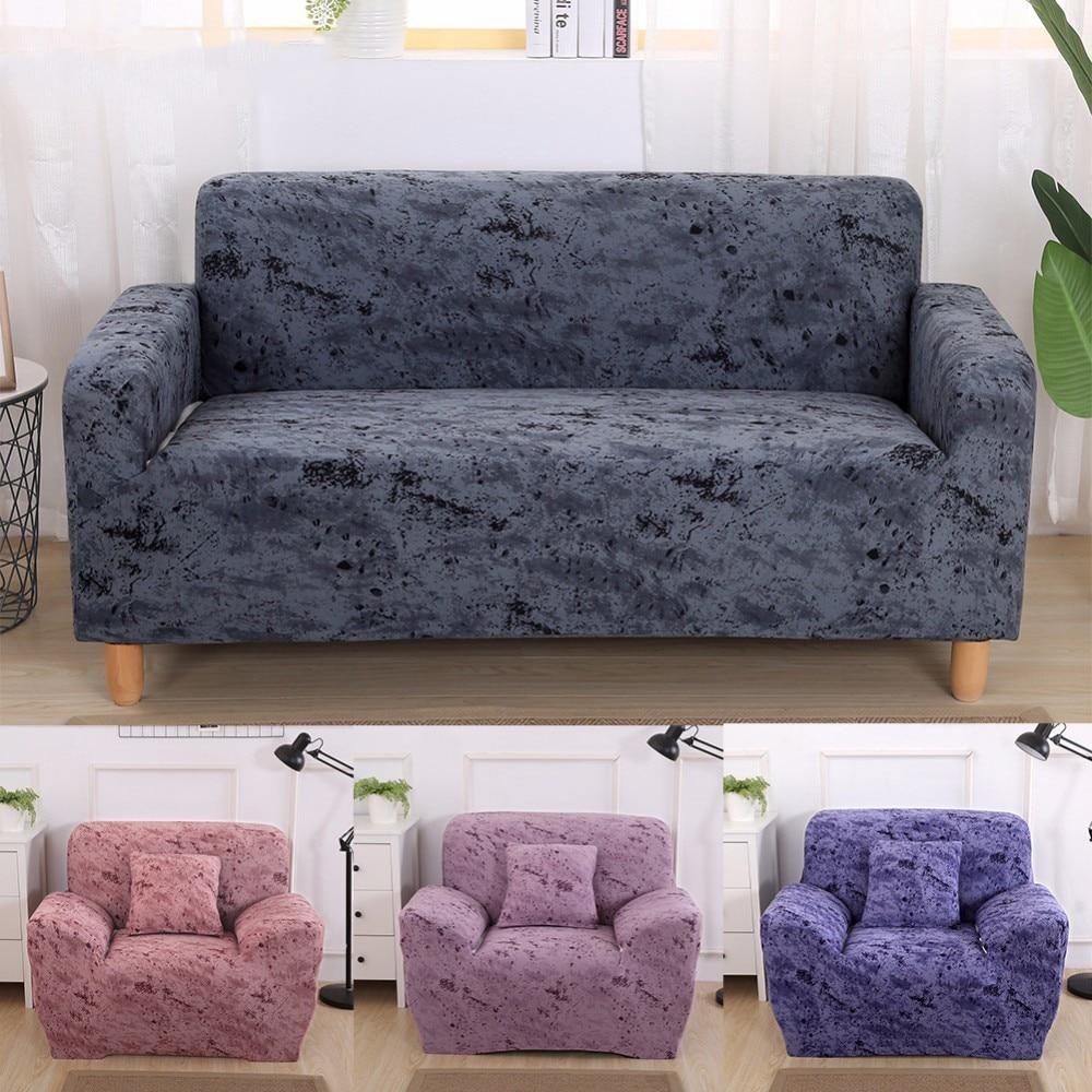 Pure Color Purple Sofa Cover Elastic Sofa Slipcover