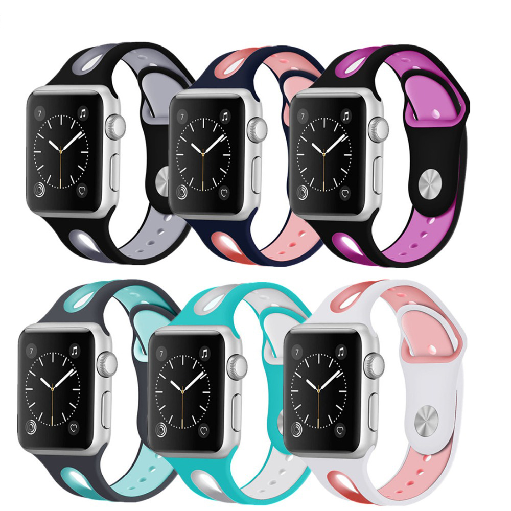 Colorful Rubber Sport Silicone strap For Apple watch series 3 2 1 Iwatch band 42mm 38mm bracelet wrist belt watchband colorful soft silicone strap for apple watch band 38mm sport rubber bracelet wrist band strap 42mm for iwatch series 1 2 3 nike