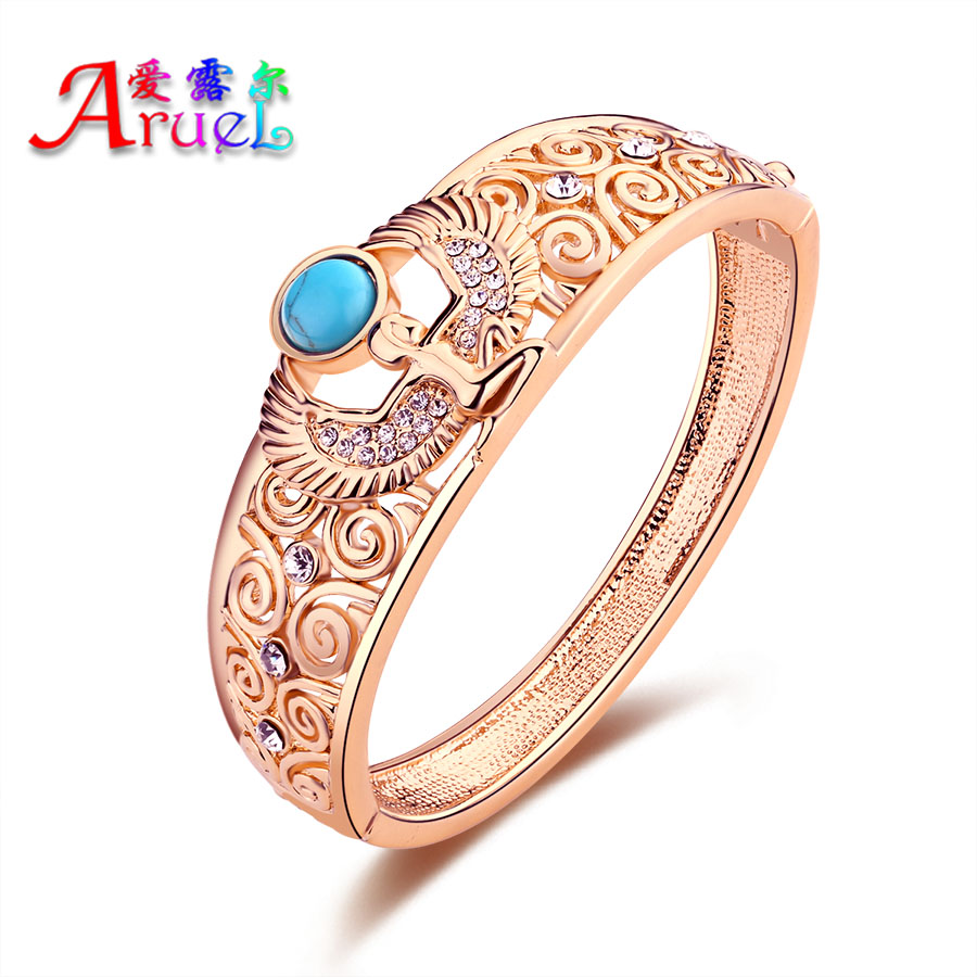 Aruel Fashion Rose Gold Color Dubai African Nigerian Women Wedding Crystal Rhinestone Angel Big Bracelets & Bangles Jewelry Armreifen