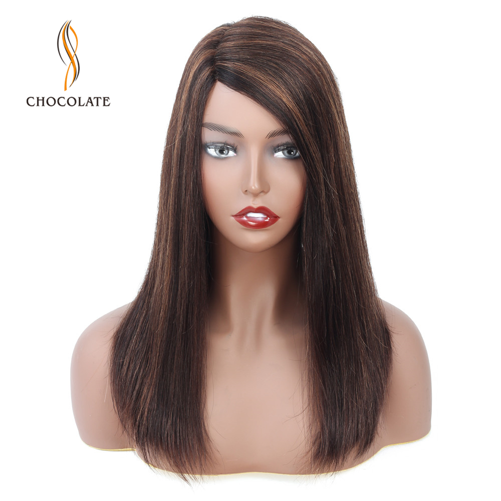 CHOCOLATE Wig Straight Lace Hairline Human Hair Wigs For Black Women Pre Plucked With Baby Hair Peruvian Remy Wig