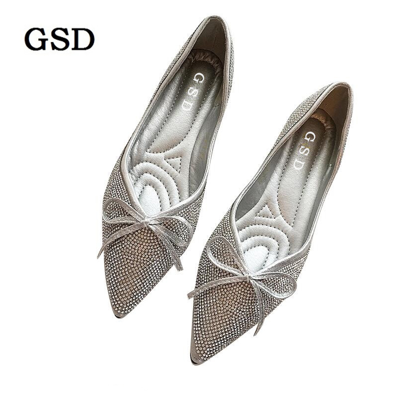 Ladies Shoes Fashion Rhinestone Bow Women Flats Spring Autumn Slip On Loafers Women Pointed Toe Flat Shoes Woman Silver Flats odetina 2017 spring elegant driving shoes loafers women fashion pointed toe flats slip on boat shoes grandma casual flat shoes
