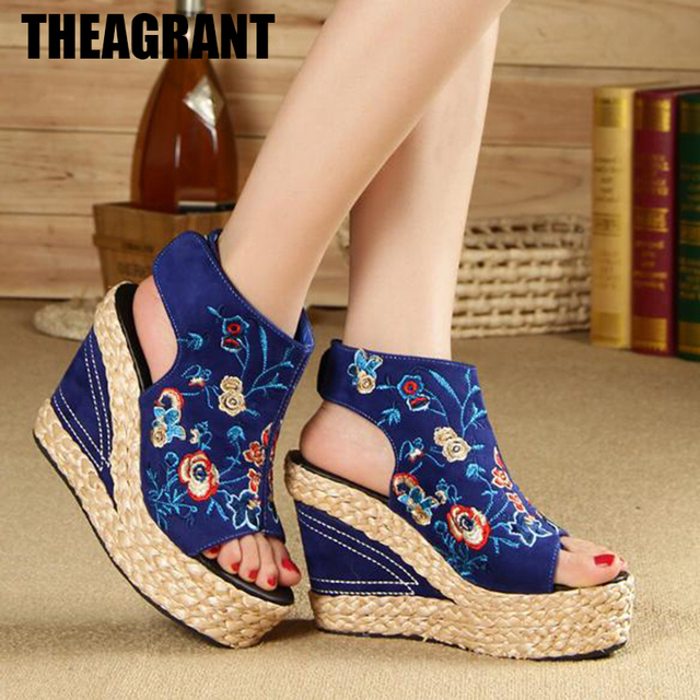 f21298b0f THEAGRANT 2019 Ethnic Embroidery Wedge Women Sandals Summer Hemp Peep Toe  Cut Out Platform Lady High Heels Shoes WSS3014