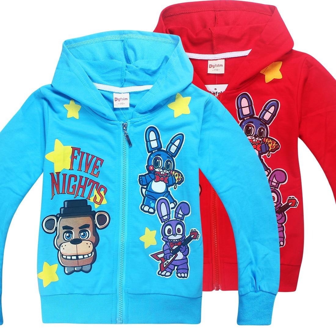 Осень Дети с капюшоном FNAF пять ночей в Фредди Фокси и плюшевый свитер для маленьких мальчиков пальто для детей куртка для девочек теплая вер...