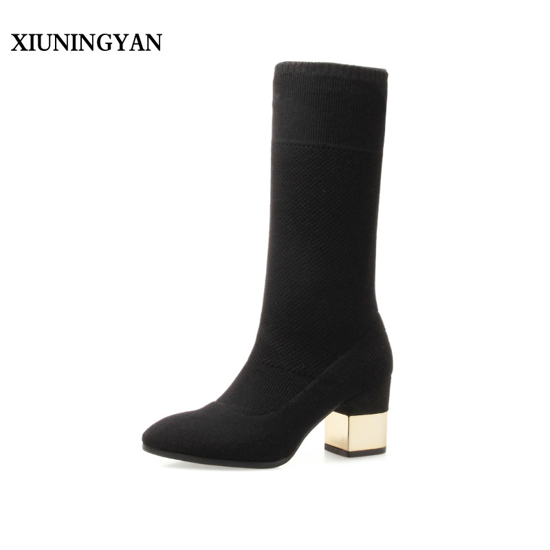 XIUNINGYAN Hot Fashion Women Boots Elastic Winter Boots Sexy Pointed Toe Bottine Femme Heels Shoes Woman Designer Botines Mujer