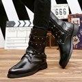 Новое Прибытие 2016 Мужская Мода Острым Носом Сапоги Британский Стиль Готический Заклепки Пряжки Сапоги Высокие Мужчины Мартин Сапоги H6329