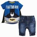 2016 Summer Fashion Boys Clothes 2pcs children clothing set 2-7Y kids clothes batman short sleeves wrap t-shirt +short pants