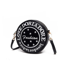 Lovely Circular Small Bag Women Wrist Bag Letters And Stars Printing MINI Round Bag Ladies Japan Style Shoulder Bag Crossbody