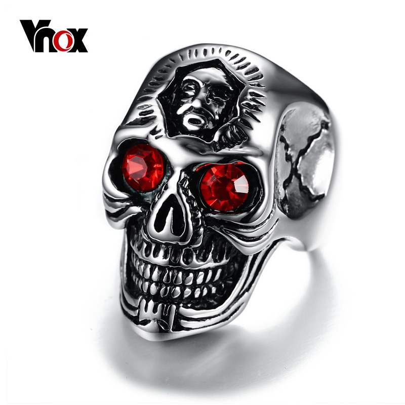 Vnox Mens Skull Ring Hiphop Stainless Steel Skeleton Rings for Men Jewelry with Red Stone Halloween Undead Decorations цены онлайн