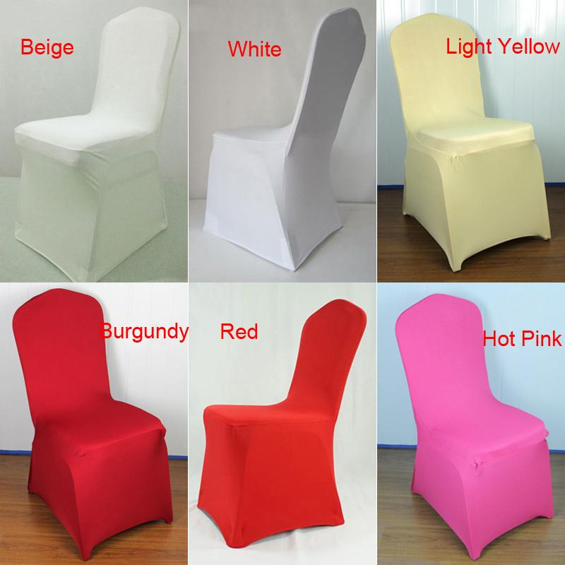 1pc Sample Text Universal White Stretch Spandex Chair Cover Lycra Polyester  Fabric Wedding Party Banquet Hotel