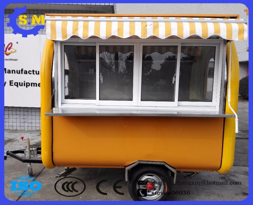 Kereta makan pelbagai fungsi luaran di luar kereta makan BBQ snek troli makanan ringan traction snek dengan tempat hujan