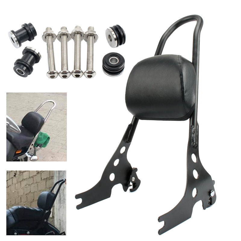 Motorcycle Luggage Detachable Sissy Bar Passenger Seat Backrest Cushion Pad Black For Harley Sportster 883 1200 XL 2004-2015 high quality motorcycle black short passenger sissy bar backrest for harley sportster xl iron nightster 883 1200 2004 2016 new