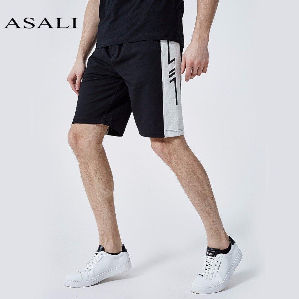 ASALI Shorts Hommes 2018 D'été Casual Patchwork Shorts Hommes Bermudes Taille Élastique Cordon Coton Slim Fit Marque Gymnases Shorts