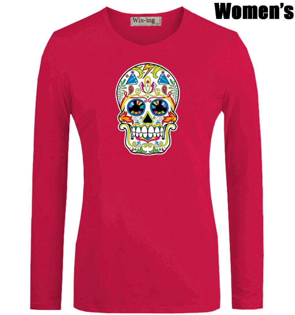 b8a64067 Sugar Skull Roses Eyes Day of the Dead Printed T Shirt Newest Casual Long  Sleeve High quality Women's Girl's Graphic Tee Tops-in T-Shirts from Women's  ...
