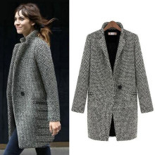 GB01/GB02/GB03/GB04 Lange Woolen Frauen Mantel Mode Weibliche Plus Größe Winter Plaid Jacke Warm Outwear(China)
