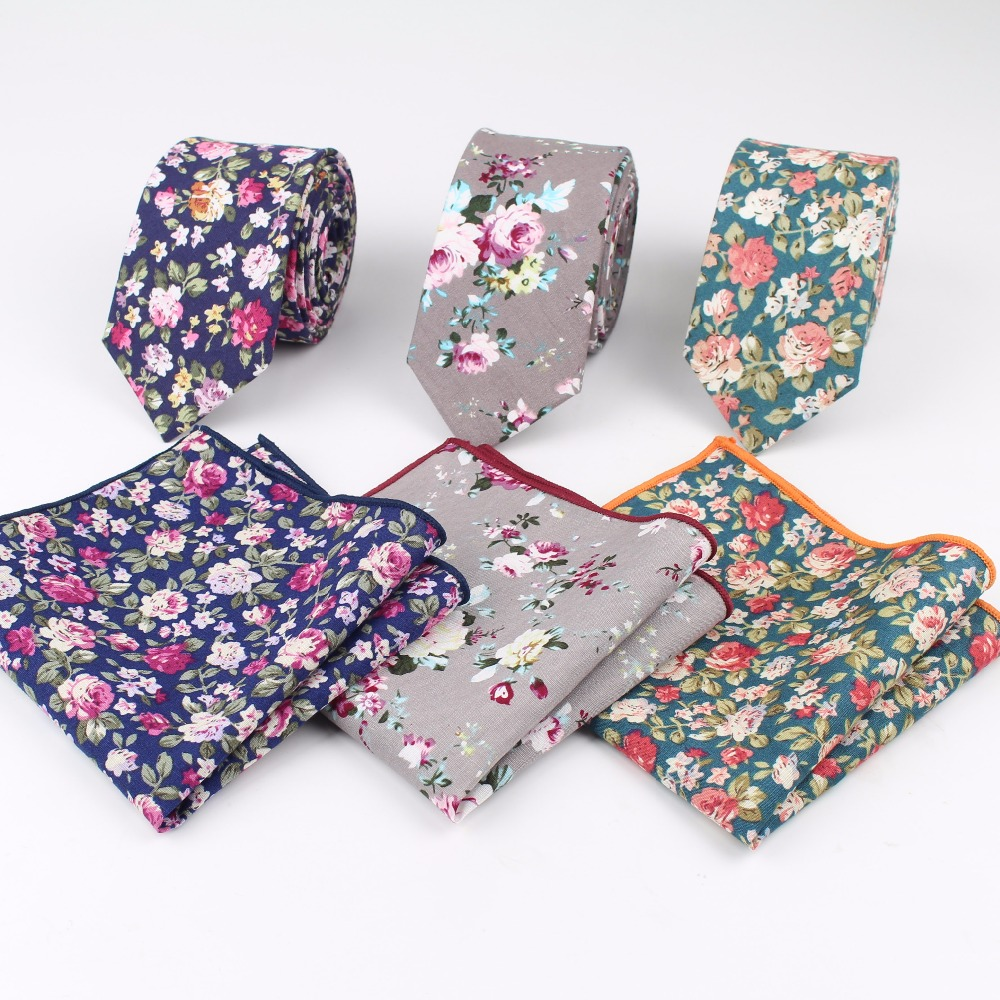 Rose Narrow Tie Hankerchief Set 100% Cotton Textile Ties Pocket Square Printing Floral Necktie Classic Skinny Flower Tie